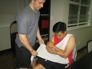 Preparing to Use a Sling in a standard first aid re-certification