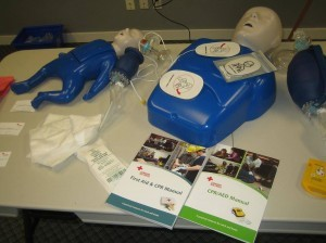 Standard first aid and CPR training equipment