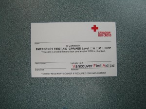 Red Cross Emergency First Aid Certificate